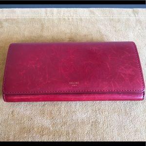 CELINE Red Box Leather Flap Clutch Wallet